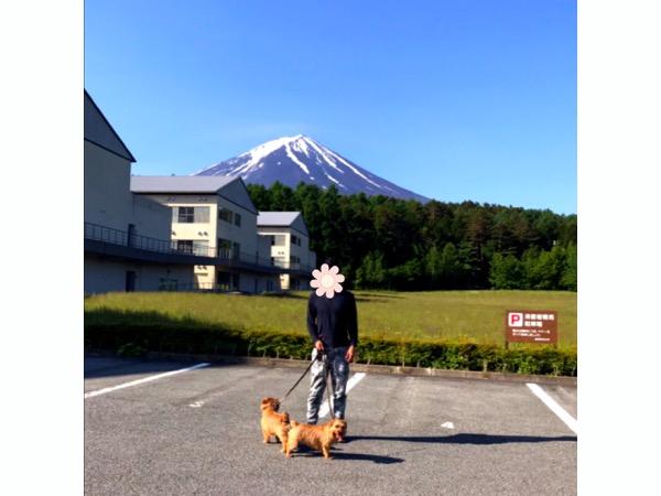 富士山を背景に駐車場で愛犬と記念撮影