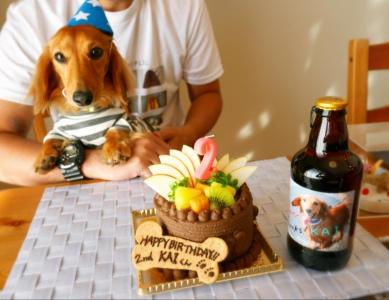 ケーキと記念撮影
