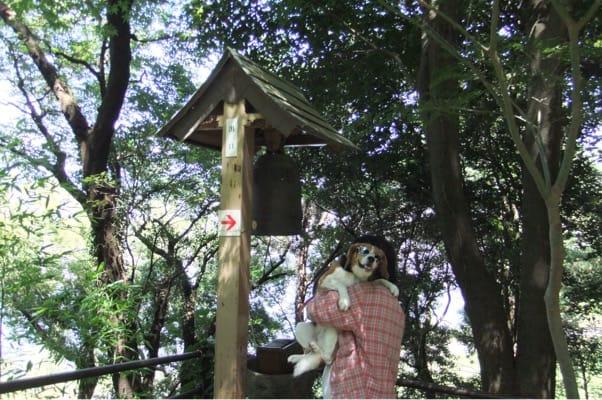 蓬莱橋長寿の鐘での愛犬