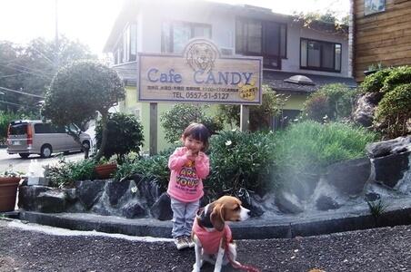 孫と愛犬、ドッグカフェCANDYにて