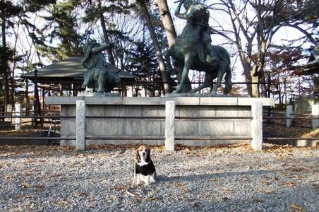 川中島古戦場跡公園 上杉謙信と武田信玄の像