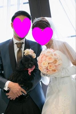 挙式前に愛犬と