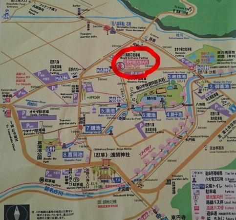 忍野八海観光所地図