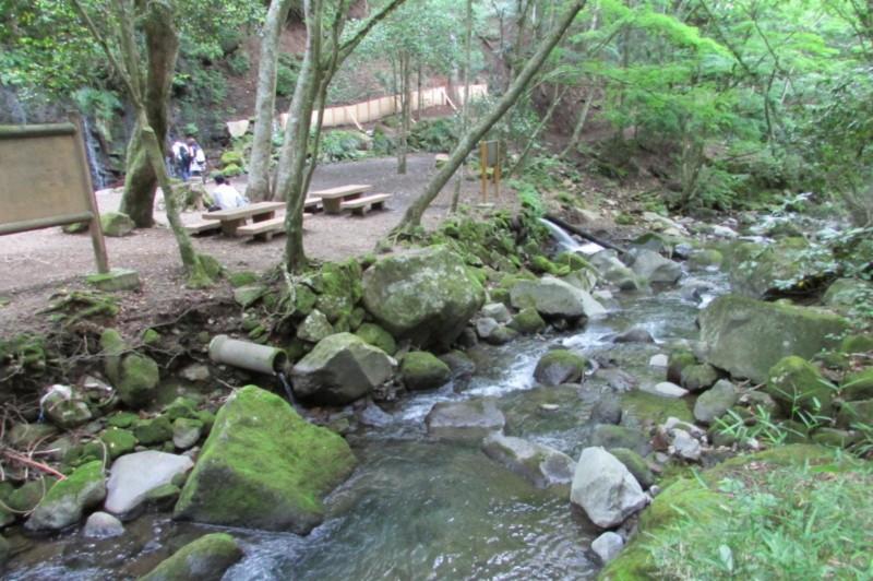 千条の滝前の川