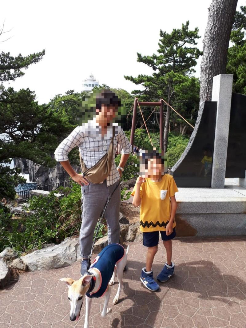 城ケ崎海岸の吊り橋を渡った愛犬
