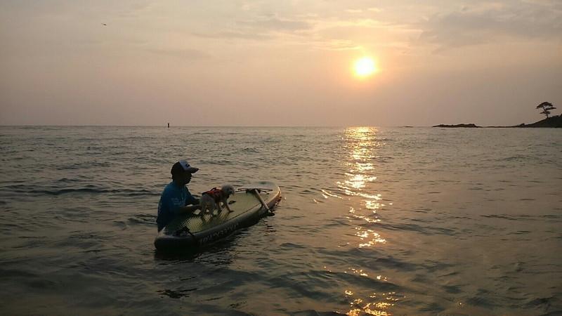 秋谷海岸の夕陽