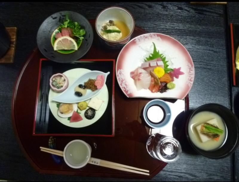 須賀谷温泉の夕食の一部