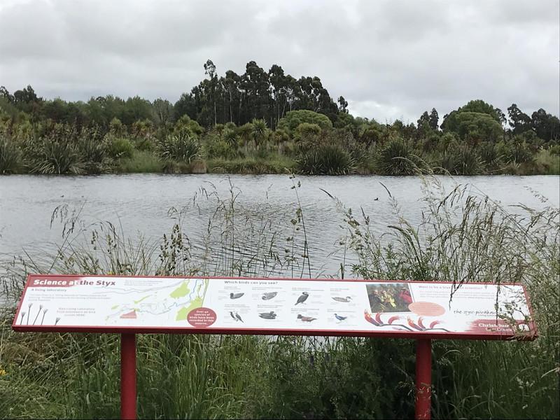 保護区の中の池と、鳥の説明案内板