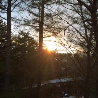 キャンプサイトから見える夕日