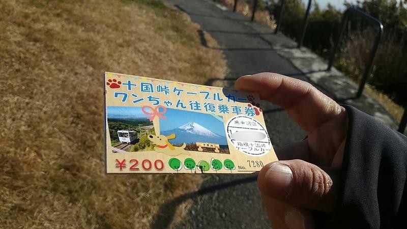 十国峠ケーブルカーのワンちゃん往復用乗車券
